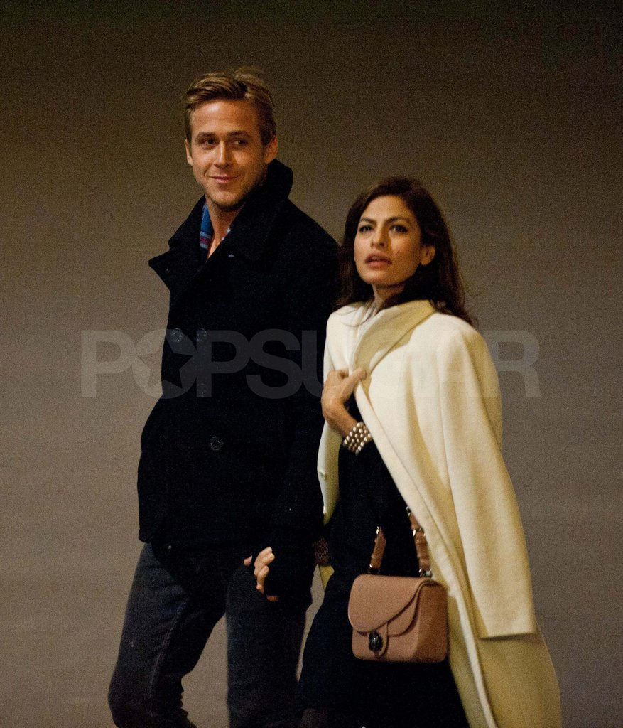 Eva Mendes and Ryan Gosling at the Eiffel Tower.
