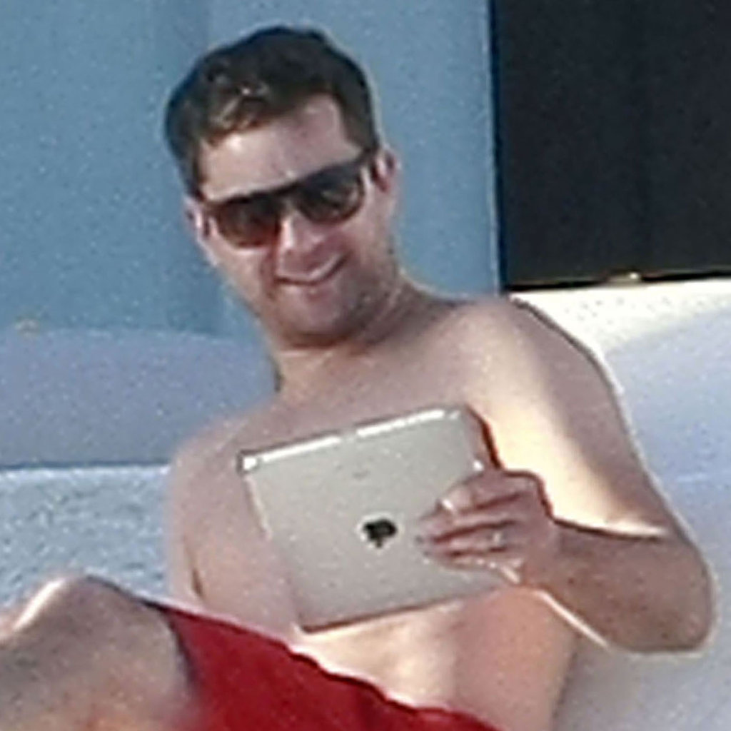 Joshua Jackson on his iPad.
