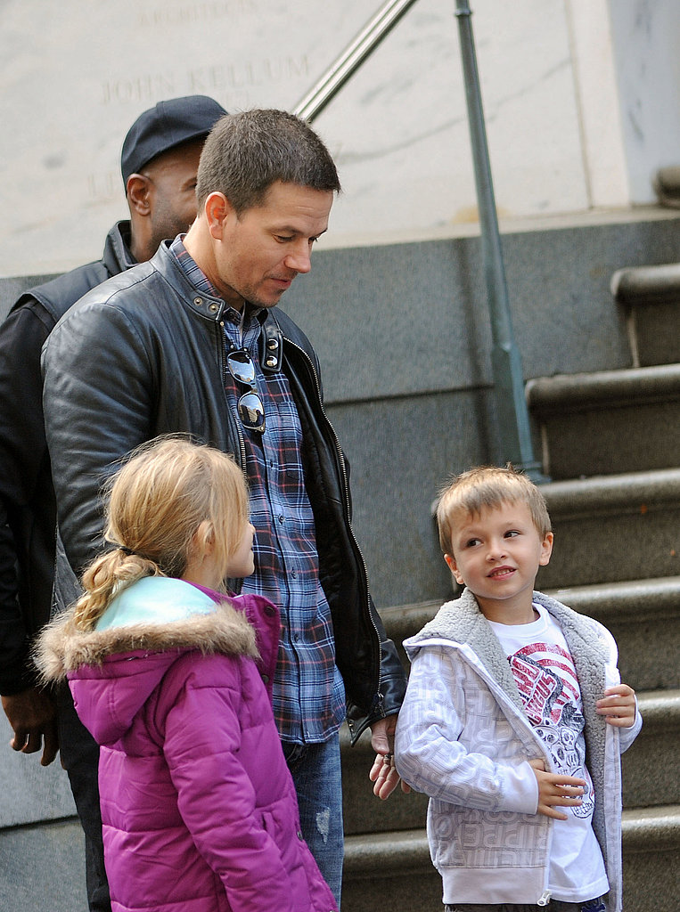 Mark Wahlberg with his kids on the set of Broken City.
