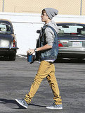 Justin Bieber crossed a parking lot in LA.