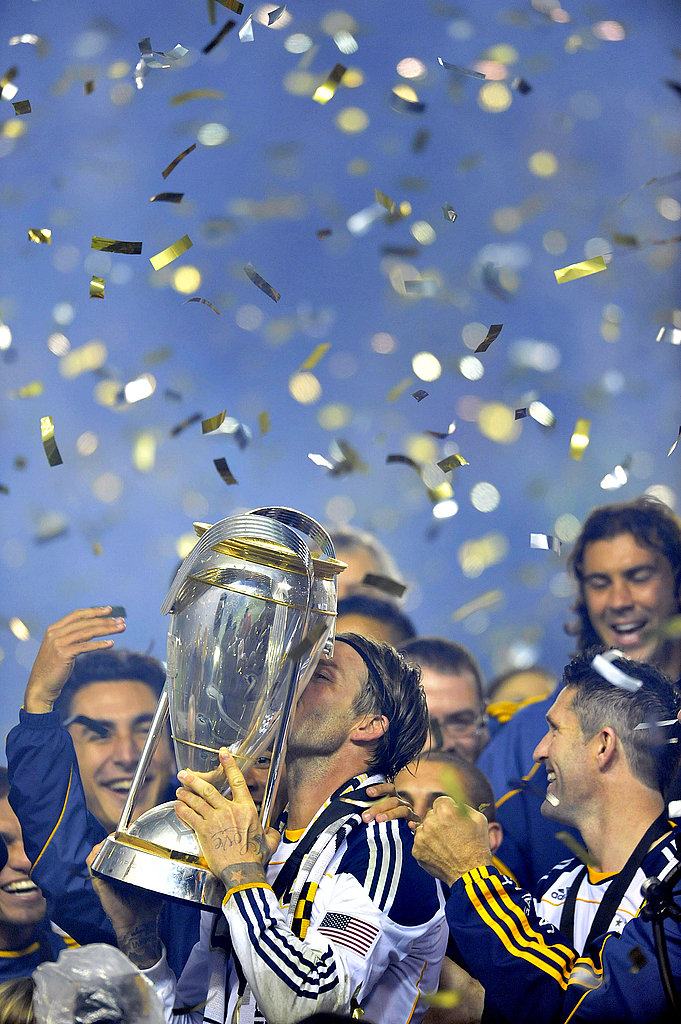 David Beckham kissed the MLS cup.