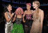 Selena, Nicki, Katy, and Taylor share a laugh.