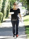 Jennifer Garner dressed casual in jeans and a dark shirt.