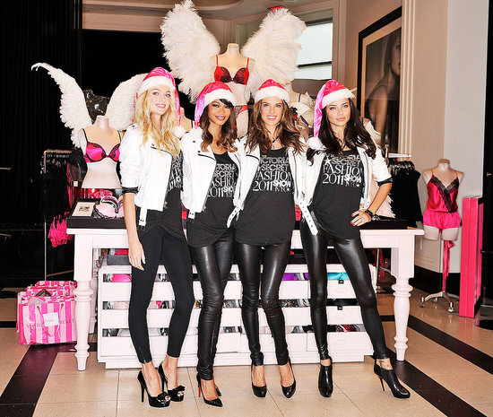 Adriana, Alessandra, Chanel, and Lindsay Get Holiday Ready With a Sexy VS Day