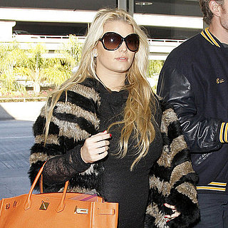 Pregnant Jessica Simpson Pictures Wearing Fur