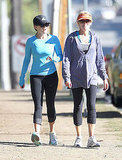 Reese Witherspoon fit in a workout and a chat at the same time.