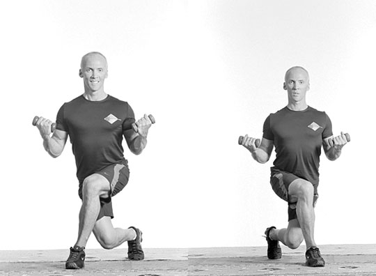 Curtsy Lunge With Biceps Curl