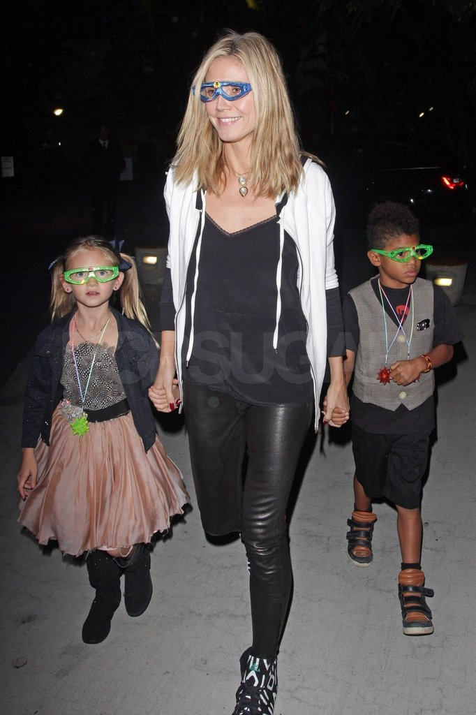 Leni, Heidi, and Henry wore glow-in-the-dark glasses.