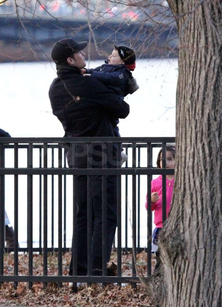 Tom and Ben Brady shared a moment at the park.