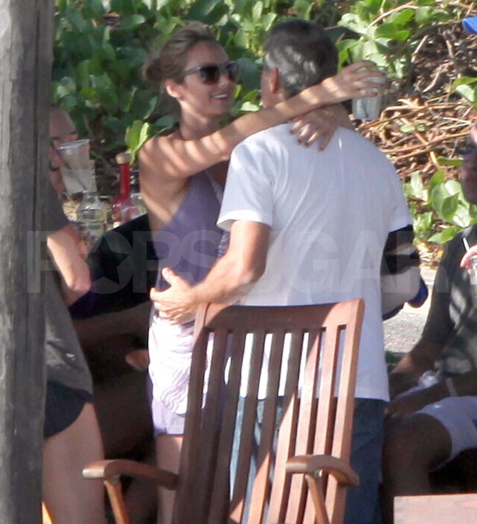George Clooney and Stacy Keibler hugged in Cabo.