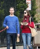 Anne Hathaway and Adam Shulman spent a loved-up day together after getting engaged. She snacked while carrying her FEED bag.