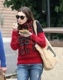 Anne Hathaway snacked on food-truck findings.