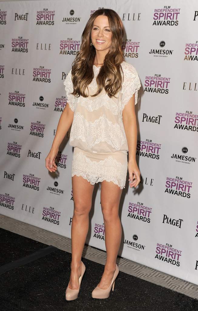 Kate Beckinsale wore a lace dress to The London Hotel in LA.