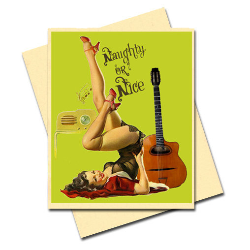 This card, drawn by iconic pinup artist Gil Elvgren, is perfect for the bad boy in your life or an irreverent girlfriend.  ($4 for 12)
