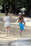 Casper Smart joined Emme Anthony and Jennifer Lopez on the beach.