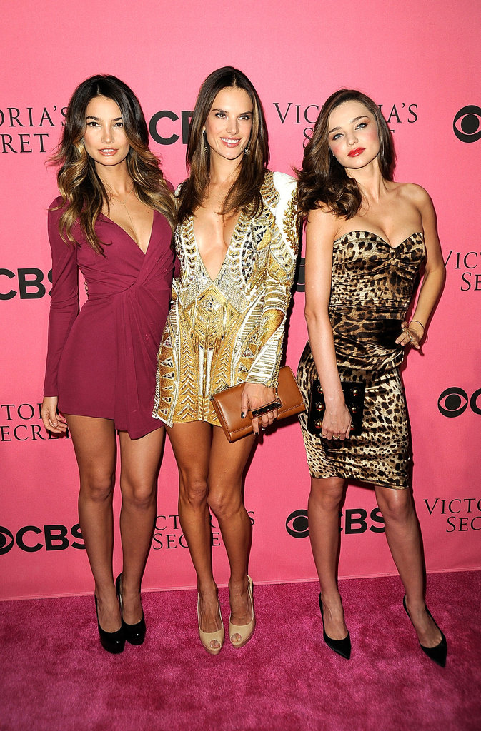 Lily Aldridge, Alessandra Ambrosio, and Miranda Kerr came out to promote the 2011 Victoria's Secret Fashion Show.
