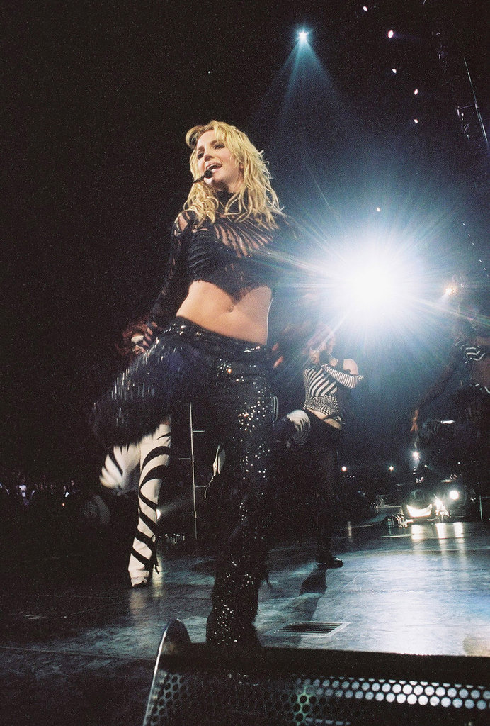 Britney Spears showed off her moves at a New Jersey concert in 2002.