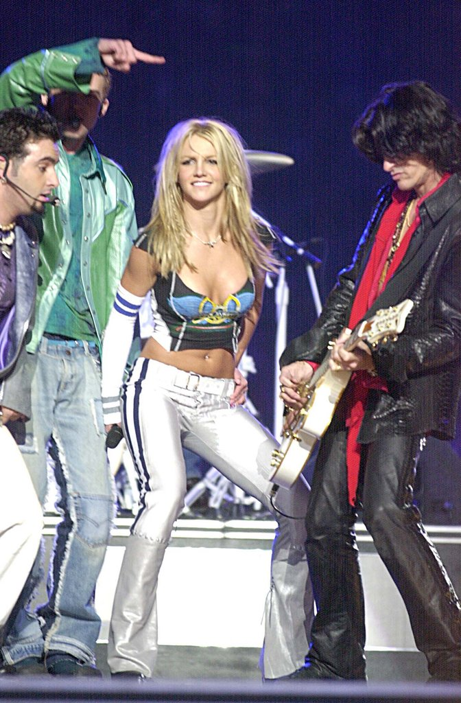 Britney joined Aerosmith for the 2001 Super Bowl halftime show in Florida.