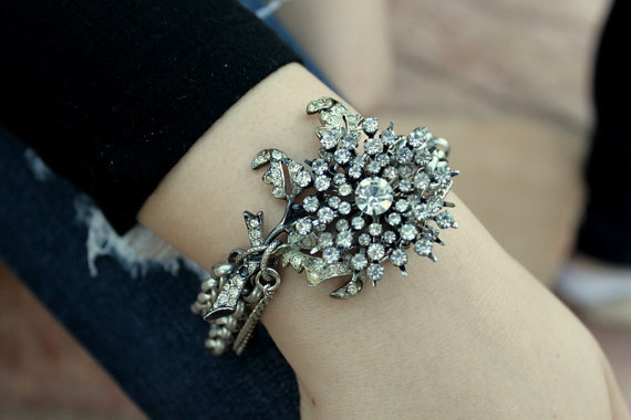 A statement-worthy piece that's sure to impress the receiver. Vintage Rhinestone Repurposed Layered Assembled Bracelet ($70)