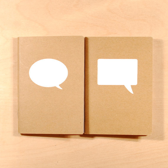 This set of quirky notebooks is just $6 — gift one, keep one? We just might! Speech Bubbles White Screen-Printed Kraft Pocket Books ($6)