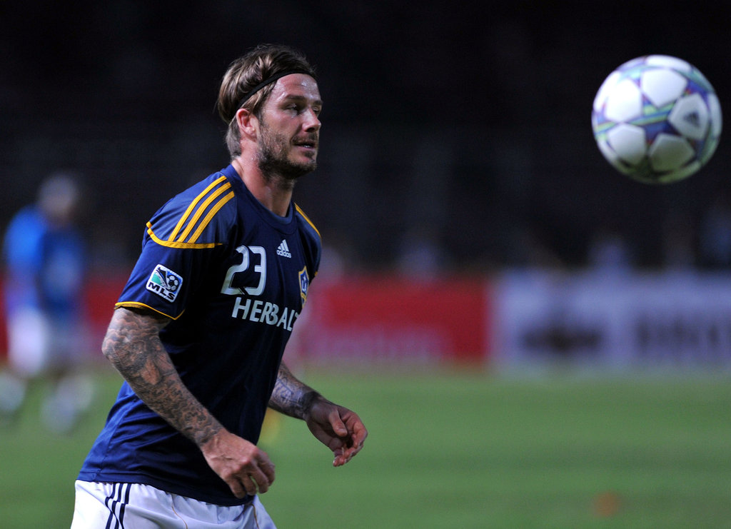 David Beckham warmed up for a match on Nov. 30.
