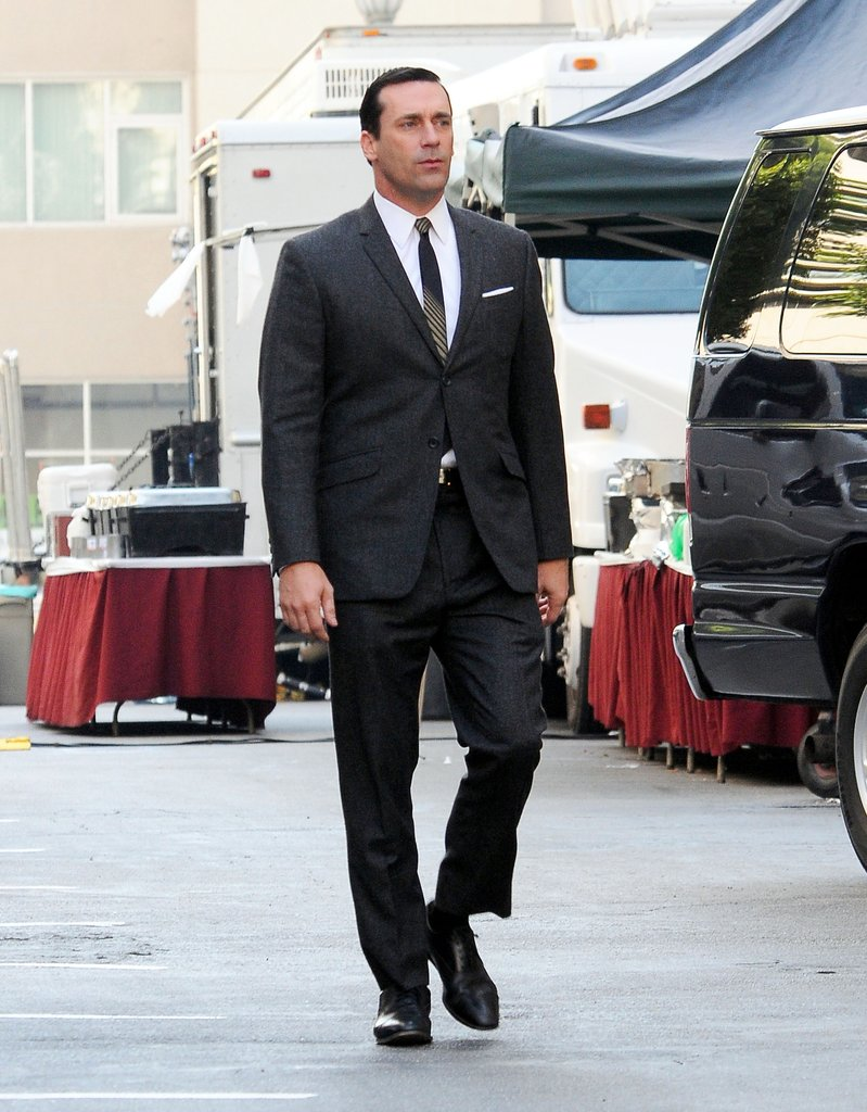 Jon Hamm on set.