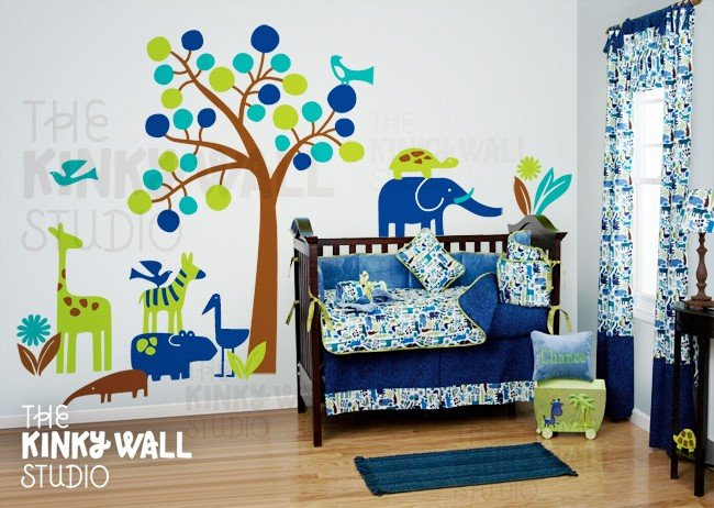 Modern Zoo and Tree Nursery Decal ($168)