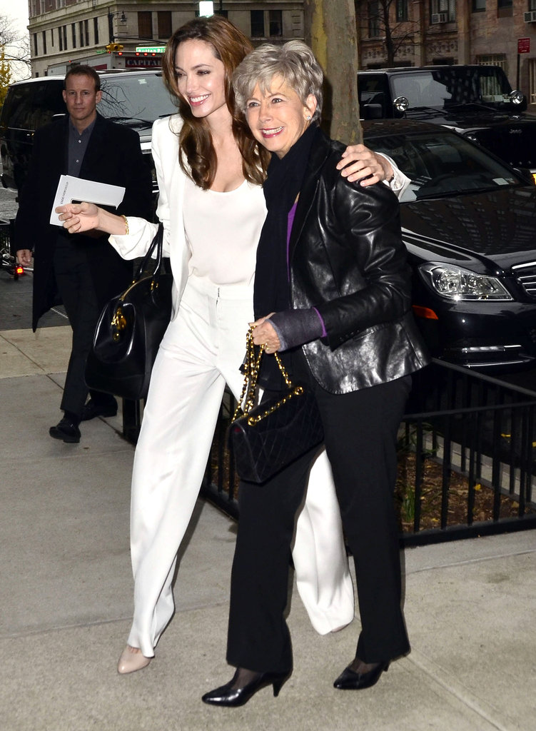 Angelina Jolie hugged Brad Pitt's mother, Jane.