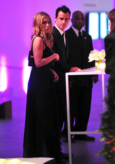Jennifer Aniston and Justin Theroux both dressed in formal attire for a November 2011 event in NYC.