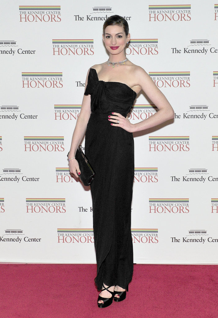 Anne Hathaway was sleek in black in DC.