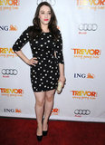 Kat Dennings opted for a pretty, printed little mini dress at Trevor.