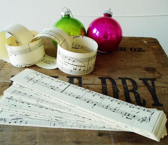 DIY Paper Garland With Vintage Sheet Music