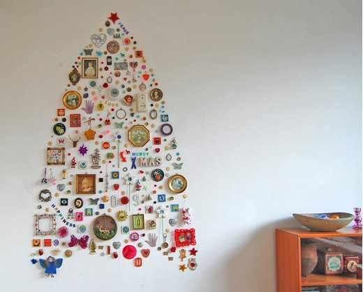 Artist Jane Shouten collected a thoughtful assortment of discarded treasures to create this tribute to the traditional tree.