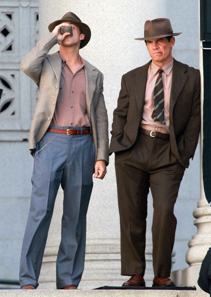 Ryan Gosling and Josh Brolin hung out on the LA set of Gangster Squad.
