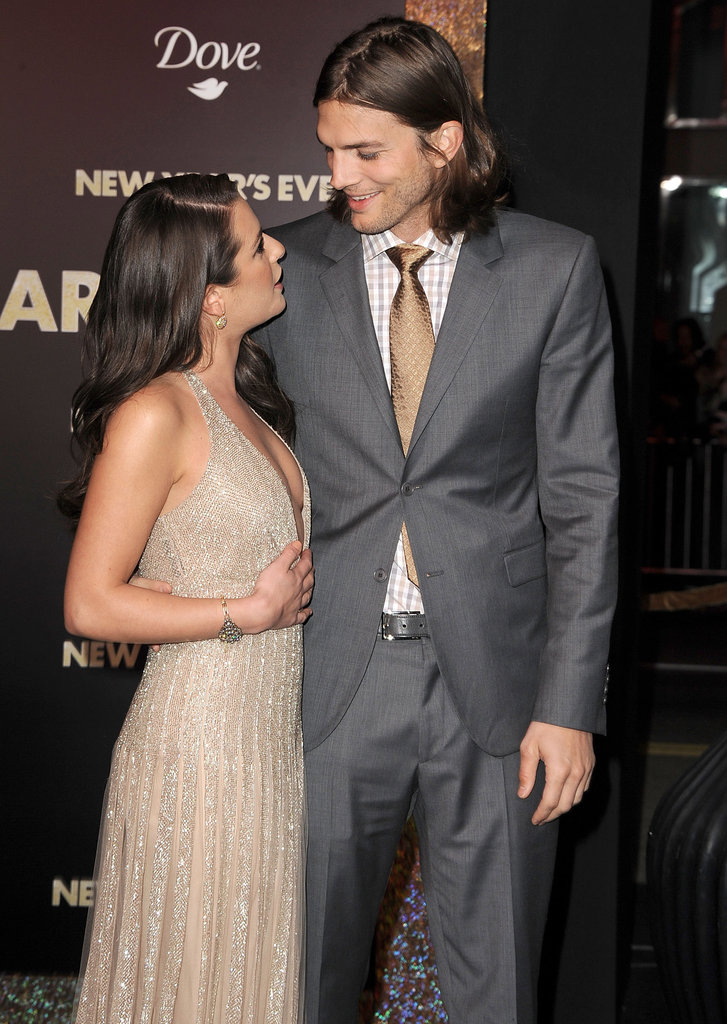 Lea Michele and Ashton Kutcher chatted before the premiere of New Year's Eve in LA.