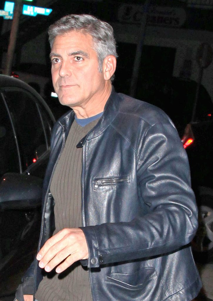 George Clooney wore another leather jacket around LA.
