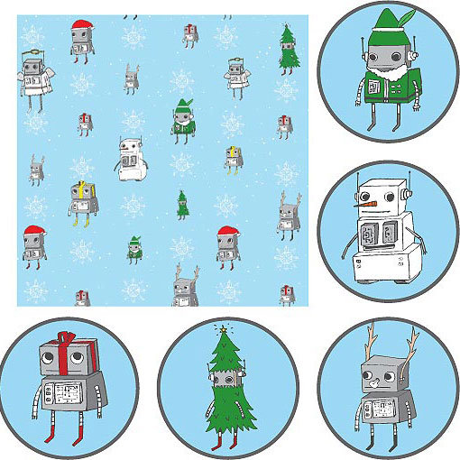 ChristmasBots wrapping paper ($6)