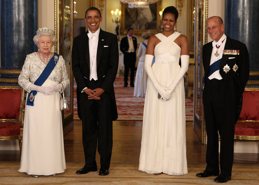 The Obamas dressed up for the Queen and a state banquette in Buckingham Palace in May.
