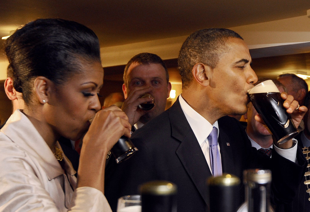 Michelle and Barack sipped Guinness at a pub in Moneygal, Ireland, where Barack's great-great-great grandfather Falmouth Kearney came from.