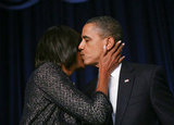 Michelle gave Barack an innocent kiss at the National Prayer Breakfast in February.