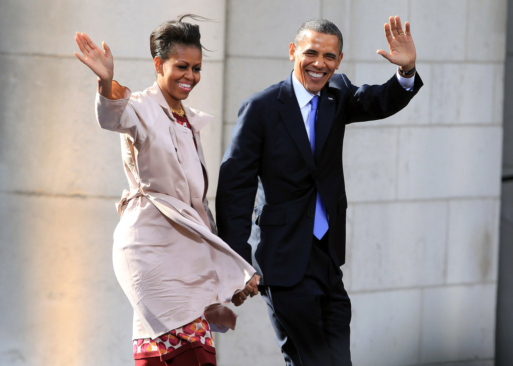 The Obamas appear in a good mood as they arrive at a public rally at College Green in Dublin, Ireland.