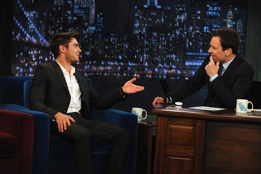 Jimmy Fallon was wrapped up in conversation with Zac Efron.