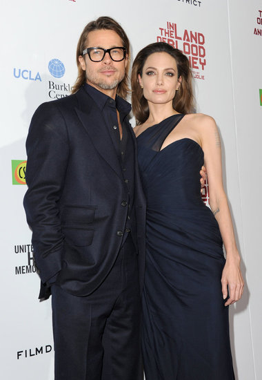 Angelina Jolie and Brad Pitt Wear Sexy Matching Navy at LA Blood and Honey Premiere