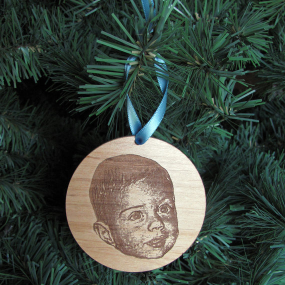 Laser-Cut Wood Photo Ornament ($15)