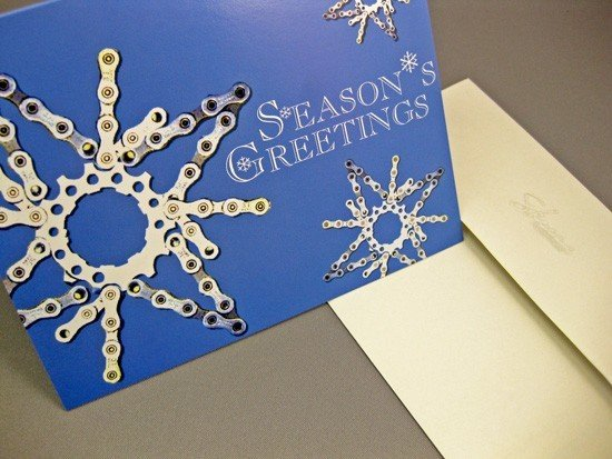 Loving this creative way to upcycle a bicycle chain.   Snowflake Bicycle Chain boxed card set ($14 for 10 cards)