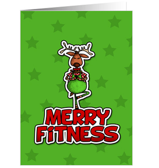 Santa's reindeer shows off (Christmas) tree pose.   Merry Fitness card ($3)