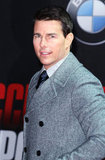 Tom Cruise wore a double-breasted coat.