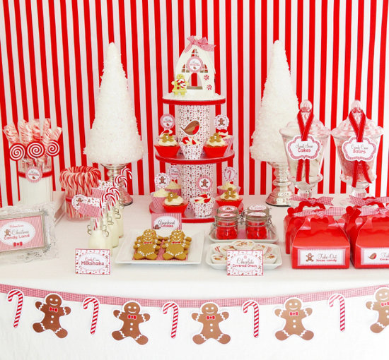 Christmas Candy Cane Dessert Table