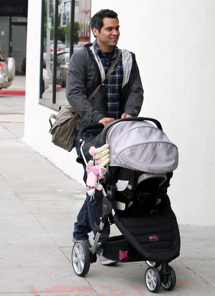 Cash pushed little Haven's stroller.