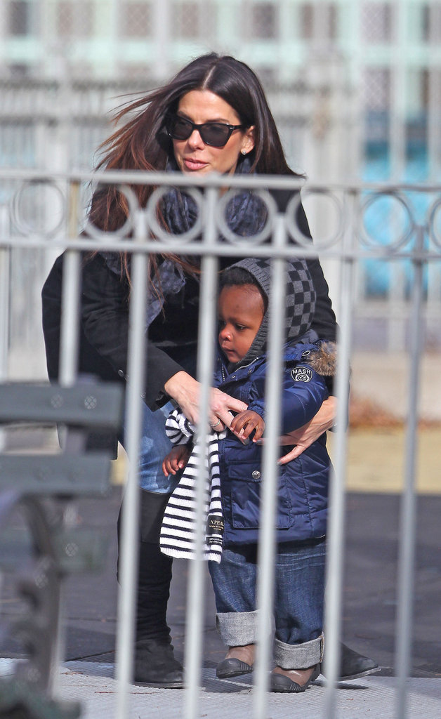 Sandra Bullock and Louis at a NYC playground.